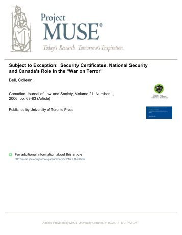 Subject to Exception: Security Certificates, National Security and ...