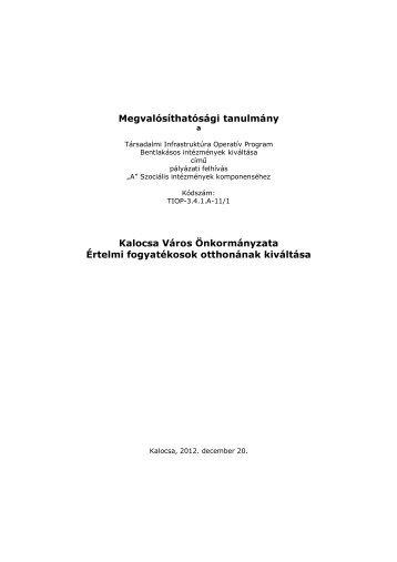 Megvalósíthatósági tanulmány Kalocsa Város ... - TASZ