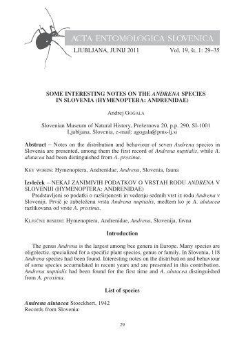ACTA ENTOMOLOGICA SLOVENICA