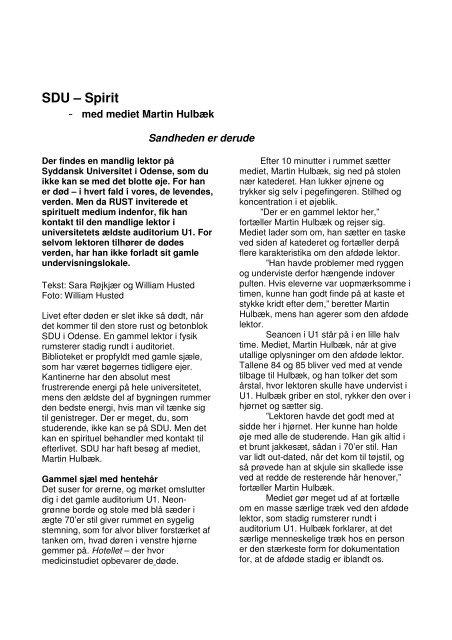 Døden på SDU - Syddansk Universitet