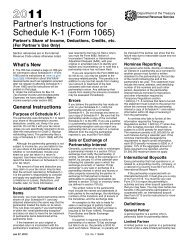 2011 Instruction 1065 Schedule K-1 - Internal Revenue Service