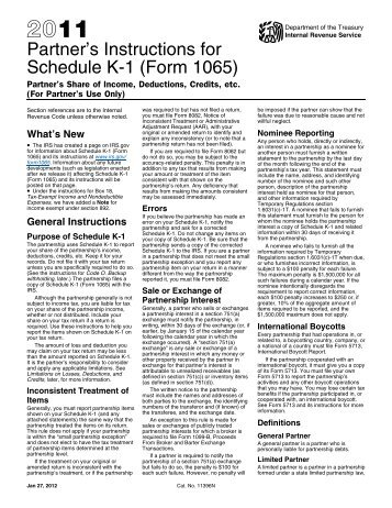 2011 Instruction 1065 Schedule K-1 - Internal Revenue Service