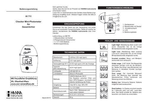 HI 711 Checker Mini-Photometer für Gesamtchlor - Produktinfo ...