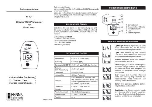 Bedienungsanleitung für Hanna Mini-Photometer HI721 f. Eisen