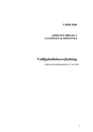 VARDE BSB AFDELING 9003 afs. 4 LYSNINGEN ... - Domea