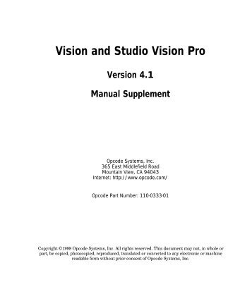Vision and Studio Vision Pro Version 4.1 Manual ... - House of Synth