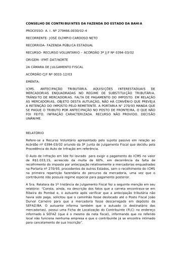 CONSELHO DE CONTRIBUINTES DA FAZENDA DO ESTADO DA ...