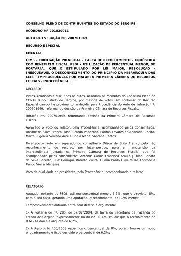 conselho pleno de contribuintes do estado do sergipe ... - APET