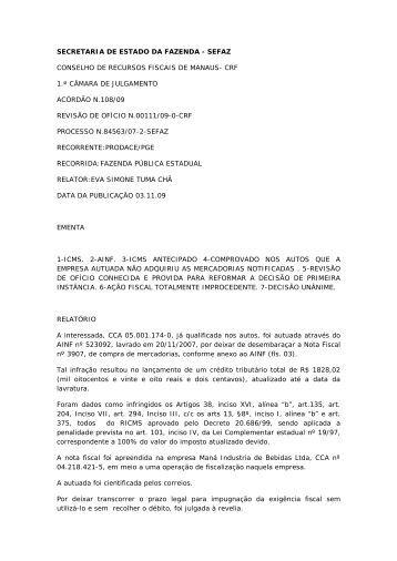 SECRETARIA DE ESTADO DA FAZENDA - SEFAZ CONSELHO DE ...