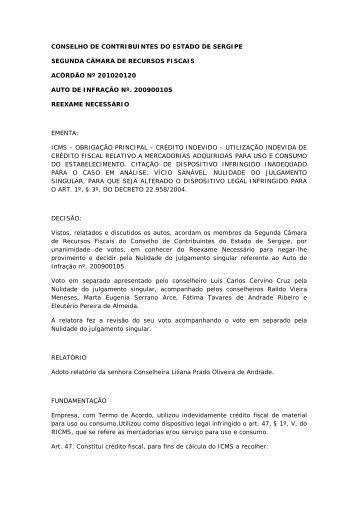 conselho de contribuintes do estado de sergipe segunda ... - APET