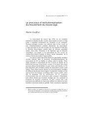 Le processus d'institutionnalisation du mouvement ... - Religiologiques