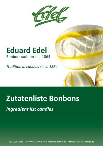 Zutatenliste Bonbons Ingredient list candies - Eduard Edel GmbH ...