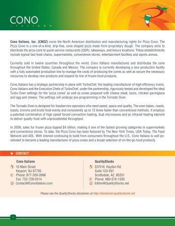 Cono Italiano, Inc. Investor Summary - QualityStocks
