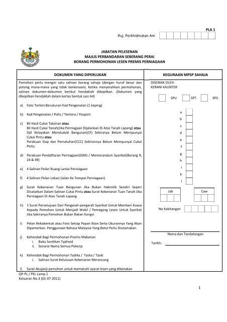 Borang Permohonan Lesen Premis Perniagaan Majlis