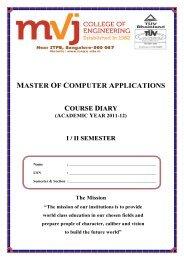 I & II SEMESTER Course diary 2011-12 - MVJ College of Engineering