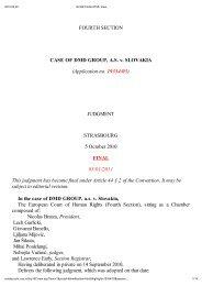 FOURTH SECTION CASE OF DMD GROUP, AS v. SLOVAKIA - TASZ