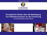 Europäische Studie über die Beteiligung von ... - Eurordis