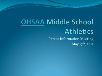 2012-2013 GMS Athletics Program presentation
