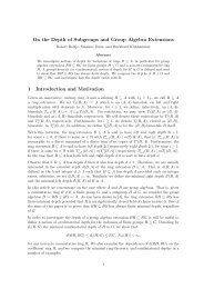 On the Depth of Subgroups and Group Algebra Extensions 1 ...