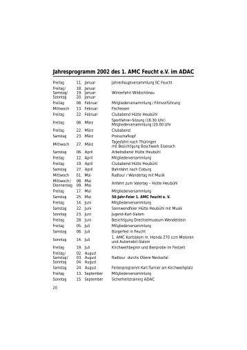 Jahresprogramm 2002 des 1. AMC Feucht e.V. im ADAC