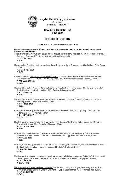 JUNE 09-HSL-NURSING pdf - AUF University Library - Angeles