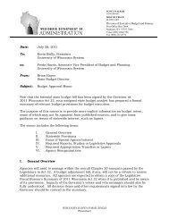 Budget Approval Memo from State Budget Director - Madison ...