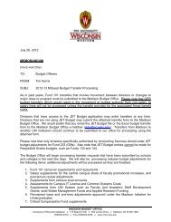 FY13 Budget Transfer Processing - Madison Budget Office