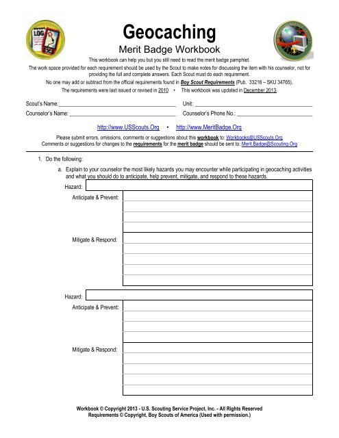 Geocaching - Merit Badge Workbook - US Scouting Service Project