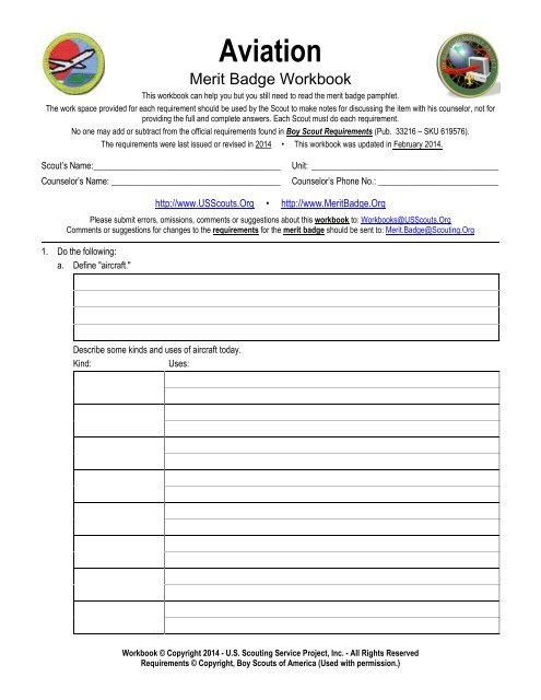 Aviation - Merit Badge Workbook - US Scouting Service Project