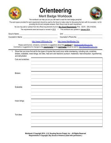 orienteering merit badge worksheet