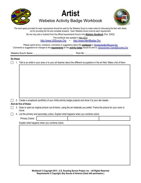 Artist worksheet - Merit Badge Research Center