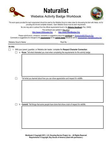 Webelos Forester Worksheet Answers - Education Worksheets