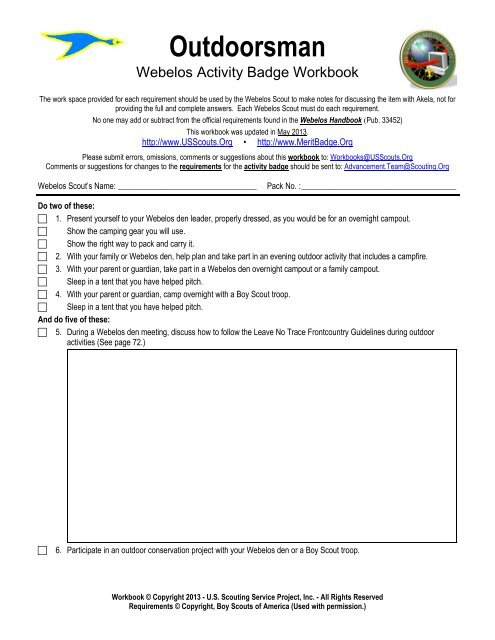 Outdoorsman worksheet - US Scouting Service Project