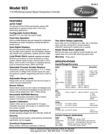 Fenwal Model 923 Datasheet (2 pages, 0.6MB) - Gaumer