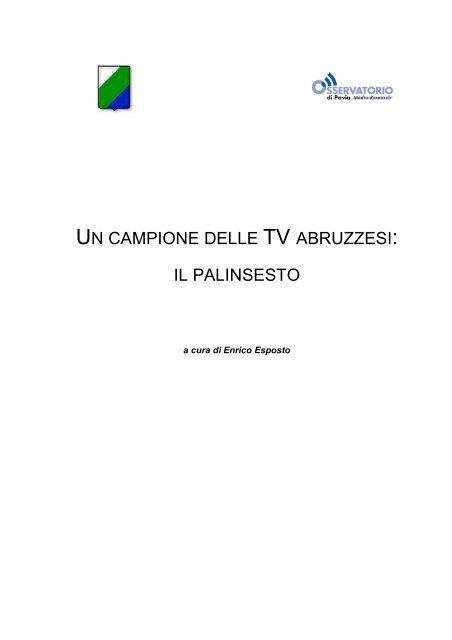 Materassi Fabricatore Offerta Televisiva.Un Campione Delle Tv Abruzzesi Il Palinsesto Osservatorio Di Pavia