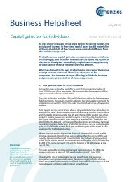 Capital Gains Tax for individuals - July 2010 - Helpsheet - Menzies