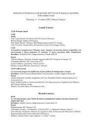 Seminario di formazione sulle politiche dell'Unione Europea per ...