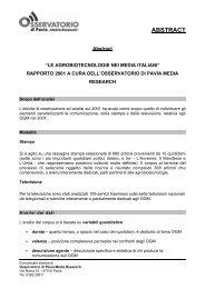 Sintesi rapporto OGM 2001 (84Kb) - Osservatorio di Pavia