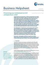 Preserving Your Entitlement To CGT Entrepreneurs' relief - Menzies