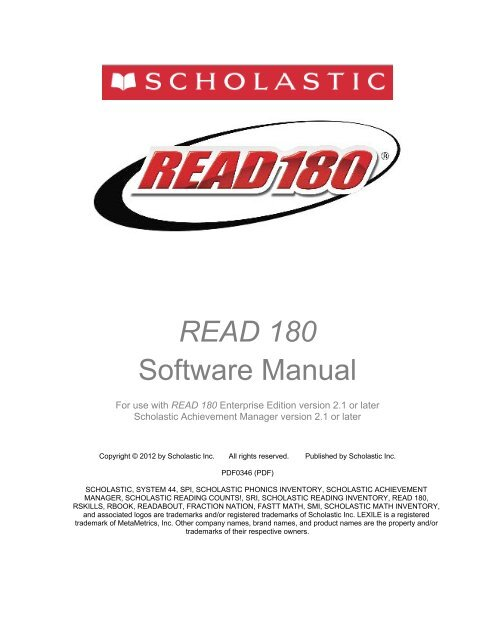 Read 180 Software Manual Scholastic Education Product Support