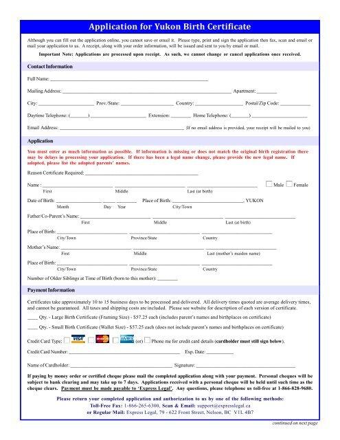 Birth Certificate Request Form - VitalCertificates ca