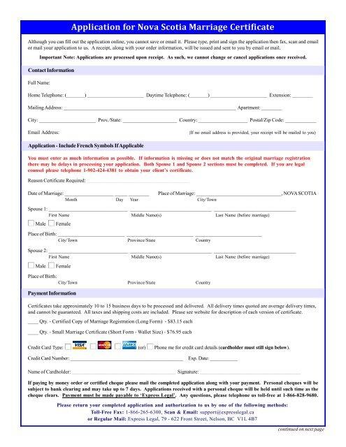 Application For Nova Scotia Marriage Certificate