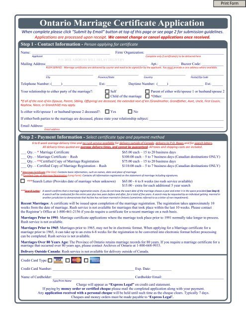 Ontario Marriage Certificate Application Vitalcertificates Ca