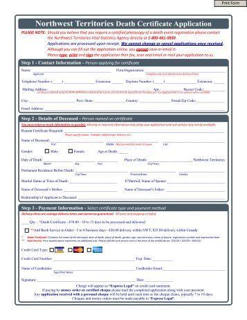 Northwest Territories Death Certificate Application - VitalCertificates.ca