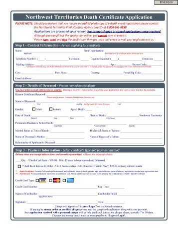 Northwest Territories Death Certificate Application - VitalCertificates.ca