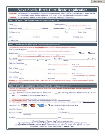 how to order a birth certificate ns