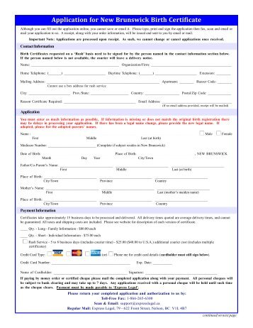 how to get a new birth certificate new brunswick