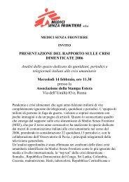 PRESENTAZIONE DEL RAPPORTO SULLE CRISI DIMENTICATE ...
