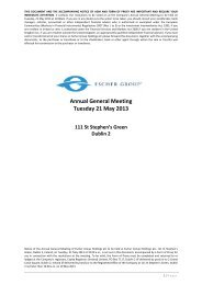 Annual General Meeting Tuesday 21 May 2013 - Investors - Escher ...