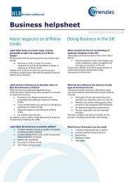 Hacer negocios en el Reino Unido - Menzies